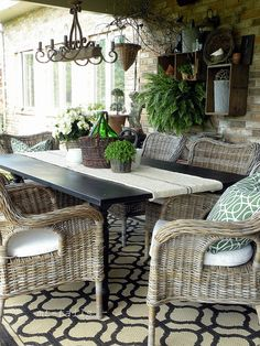 Perfect for patio below the deck! Just needs a bit more color for my taste.