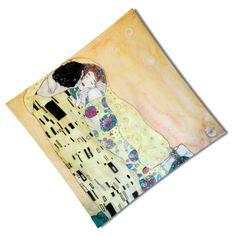 """Elegantná hodvábna šatka """"GUSTAV KLIMT – KISS"""" z prírodného hodvábu, veľmi jemná na dotyk.  Hodvábna šatka s olejomaľbou inšpirovaná svetoznámymi umeleckými dielami. http://bit.ly/1h5n9wP"""