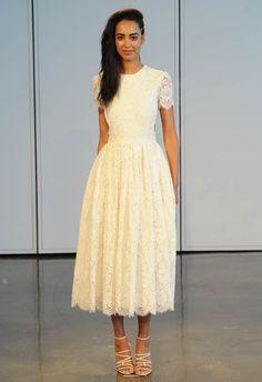 Tea Length Lace Wedding Dress   Houghton Spring/Summer 2014   The Knot Blog