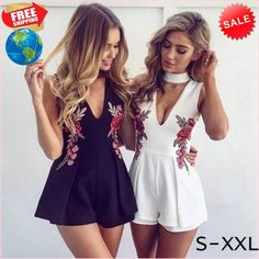 87e6099186d 2017 Sexy V-neck Sleeveness Jumpsuit Pullover Bodysuit Choker Neck Top  Rompers Retro Embroidery Rose Playsuit body feminino
