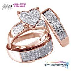 Diamond & 10k Rose Gold Heart Trio Set Wedding Engagement Ring For His And Her #Silvergemsjewelry #WeddinganniversaryValentinesPromiseGift