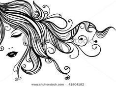 Cosmetology Pictures Cartoons   Picture of a Sensual, Beautiful Woman with Eyes Closed and Long ...