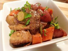 <p>This stew is incredible. The seitan is tender and delicious. Potatoes, carrots, mushrooms, and onions are all swimming in a thick, rich gravy.</p>