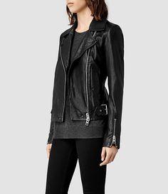 Womens Ayers Leather Biker Jacket (Black) | ALLSAINTS.com