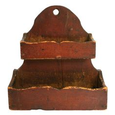 Late 18th C. two tier New England wall box in original dry red surface.