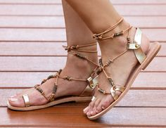 FREE SHIPPING - Santorini Metallic Gold with Gold Beads- Ultra feminine classic  with all natural leather, leather lacing and gold beads