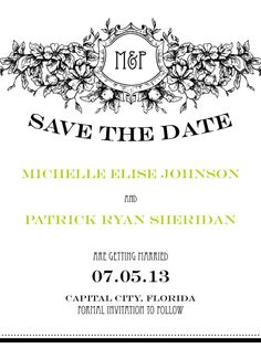 Timeless Chartreuse Save the Date Card