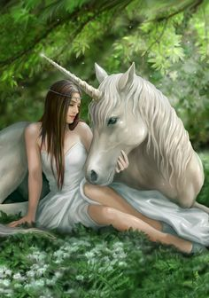 Pure Heart Unicorn Greeting Card | Anne Stokes Maiden with White Unicorn Fantasy Card