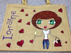 Large Personalised Jute Bag, fantastic value, hand drawn to your specification, pop over to www.facebook.com/BagsbyK to browse our album