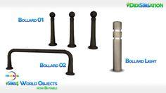 The Sims 4 World Objects - now buyable - Maxis® - Bollard 01, Bollard 02, Bollard Light - Sims 4 CC