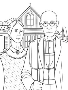 American Gothic by Grant Wood coloring page from Famous paintings category. Select from 20946 printable crafts of cartoons, nature, animals, Bible and many more.