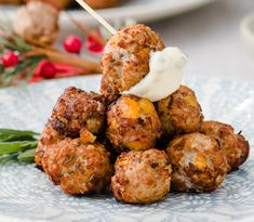 Curried Apricot Meatballs with Sage Mayo