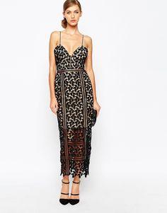Image 1 ofSelf Portrait Cami Strap Cutwork Lace Midi Dress