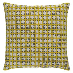 GRIDDY Yellow and grey patterned cushion 45 x 45cm | Buy now at Habitat UK