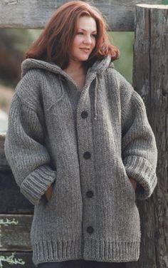 Free Knitted Cardigan Patterns | Free Knitting Pattern 60588 Hand-Knit Danbury Hooded Sweater Jacket ...