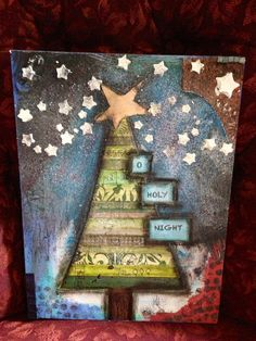 mixed media/christmas - use scraps to makev the tree. Lve the little details that look like they could be hand drawn