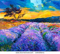 stock photo : Original oil painting of lavender fields on canvas.Modern Impressionism