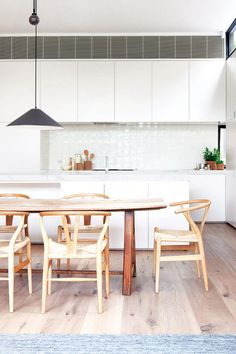 modern white kitchen timber dining table