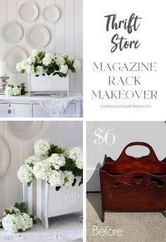Magazine rack makeover Diy Furniture Tutorials, Furniture Making, Diy Projects, Furniture Ideas, Garage Sale Finds, Repurposed Items, Floral Centerpieces, Furniture Makeover, Easy Diy