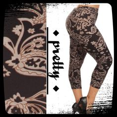 BEAUTIFUL VERSAILLES PATTERN CAPRI PLUS LEGGINGS Ankle length, super stretchy leggings! Micro fiber, polyester & spandex. OS fits 16-22, YASSSSSS FOR REAL!  SO COMFY!! Pants Leggings