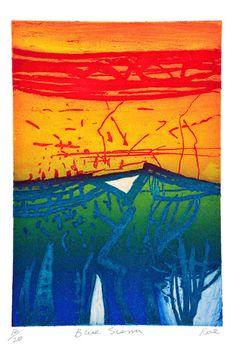 Blue Sierra - Barbara Rae Barbara Rae, Artist Profile, Acrylic Art, Black Art, Landscape Art, Figurative, Art Boards, Printmaking, Contemporary Art
