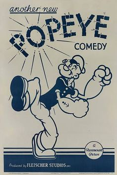 """animationproclamations: """"Stock one-sheet movie poster for a Paramount Popeye Cartoon, """" 1930s Cartoons, Old School Cartoons, Classic Cartoons, Vintage Comic Books, Vintage Cartoon, Vintage Comics, Popeye Movie, Popeye Cartoon, Comedy Cartoon"""