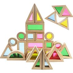 Agirlgle Wood Building Blocks Set for Kids 24 Pcs Rainbow Stacker Stacking Game Construction Building Toys Set Preschool Colorful Learning Educational Toys - Geometry Wooden Blocks for Boys & Girls in Stacking Blocks. Wooden Blocks Toys, Wooden Building Blocks, Wooden Baby Toys, Wood Toys, Building Toys, Wood Blocks, Educational Toys For Kids, Kids Toys, Toddler Toys