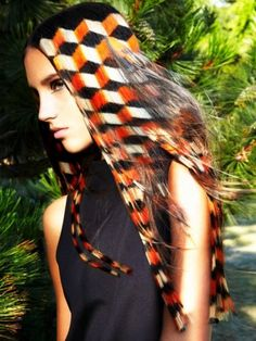 Straight long hairstyle with avant-garde pattern hair cololouring
