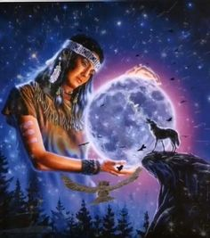 Native American Prayers, Native American Spirituality, Native American Warrior, Native American Paintings, Native American Pictures, Foto Fantasy, Wolves And Women, Wolf Artwork, Animated Love Images