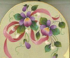 Ribbons and Violets on Green #601 - Maureen McNaughton