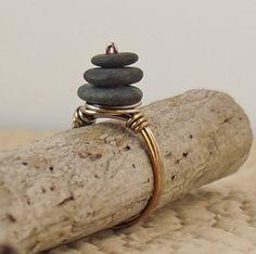 Copper and Stone Ring  Cape Cod Beach Stone Cairn by ZenArtGlass, $20.00