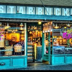 Original Starbucks in Pikes place.  What you cant really see is this the sign is uncensored and in the original you can see the mermaids breasts