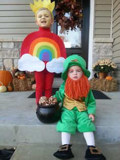 Leprechaun & Rainbow. @lizpomazal you should do this with the girls.