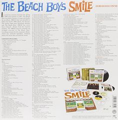"""The Smile Sessions [9 CD Box Set]   The Smile Sessions [9 CD Box Set] The long awaited release of the Brian Wilson and Beach Boys masterpiece, Smile Sessions. With the full participation of original Beach Boys Al Jardine, Mike   Love, and Brian Wilson, Capitol/EMI has, for the first time, collected and compiled the band's legendary 1966-'67 sessions for the never-completed SMiLE   album. Rolling Stone magazine recently called SMiLE """"the most famous unfinished album in rock & roll his.."""