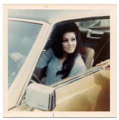 Priscilla Presley in her Cadillac ;) ohhh I know I was born in the wrong time frame! She's so beautiful!!!!