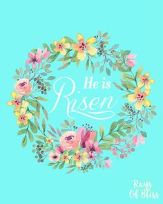 He is Risen Easter Free Printable. 8x10 art print from Rays of Bliss. Perfect for Easter decor around your home or office.