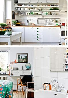 Kitchen | White Walls & Backsplash | Open Shelving | Wood counter top