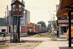 CP, Chatham, Ontario, 1974 Westbound Canadian Pacific Railway freight train at crossing tower in Chatham, Ontario, on June 23, 1974. Photograph by John F. Bjorklund, © 2015, Center for Railroad Photography and Art. Bjorklund-36-24-11