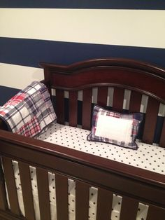 Pottery Barn Kids Boys Navy Red Madras Crib Bedding In The Nursery For That Little