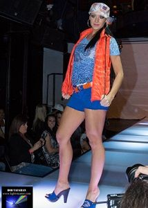 Bailey Heesch from, Urban Talent Management, Modeling VillaStyle Collegiate  Boise State Fashions in Boise Fashion Week. Crystal Bronco logo on burnout Tee, Light down vest, crystal Boise State Heels, Plaid cadet with metallic stitched