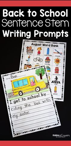 Back to School Writing Prompts-Sentence stems can help kindergarten and first grade writers get their thoughts on paper. These printable prompts are fun, engaging, and provide support to elementary writers. These prompts work great as a writing center of First Grade Science, First Grade Writing, First Grade Activities, Teaching First Grade, Kindergarten Activities, Writing Activities, Student Learning, Literacy Skills, Writing Skills