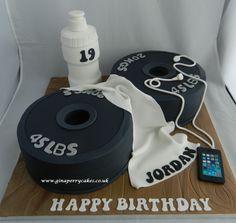 Weight training theme birthday cake