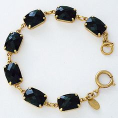 Catherine Popesco bracelets from La Vie Parisienne Jewelry Collection. Jet Black crystal link bracelet is a classic look with a vintage vibe.  Layer or wear separately.