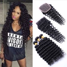 Brazilian Deep Wave 4 Bundles With Closure 7A Unprocessed Brazilian Virgin Hair Weave Bundles With Lace Closure Human Hair Weave http://jadeshair.com/brazilian-deep-wave-4-bundles-with-closure-7a-unprocessed-brazilian-virgin-hair-weave-bundles-with-lace-closure-human-hair-weave/ #HairWeftClosure(Bang)