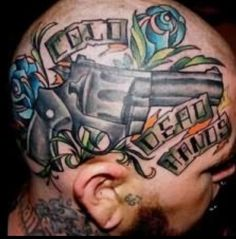 Revolver 3D Tattoo on Head