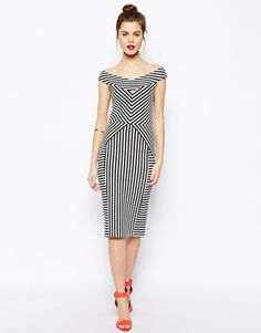 Image 1 of ASOS Cutabout Stripe Bardot Bodycon Dress