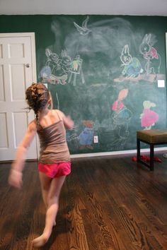 In love with the color of an old school chalkboard and for that matter, the whole chalkboard wall itself!