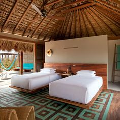 Rooms & Suites at Hotel Escondido, Mexico - Design Hotels™ Resort Interior, House Bali, Beach House Hotel, Beach Hotels, Casa Hotel, Bamboo House Design, Hotel Room Design, Beach Bungalows, Resort Villa