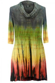 Christy Cowl Tunic in Passion Fruit - With a high-waisted hand dyed design that's slimmer than our other tunics, the Christy has a unique style that flatters the figure while not revealing too much. #tunic