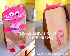Forget the valentine box... we made this easy valentine holder with some crate paper and a brown paper bag! My six year old wanted a kitty c...